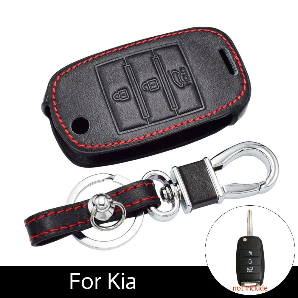 ATOBABI Car Leather Flip Key Cover Cases Holder Bag For KIA KX5 Rio Sportage QL Ceed Sorento Cerato K2 K3 K4 K5 Fob Keychain