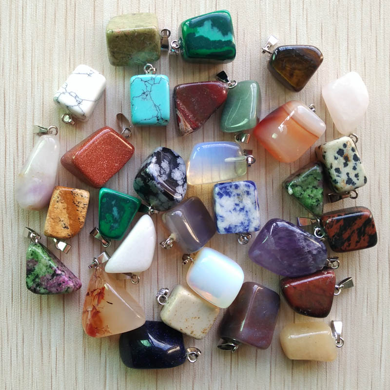 Wholesale 50pcs/lot 2019 hot selling trendy Assorted Natural stone Mixed Irregular shape pendants charms jewelry Free shipping