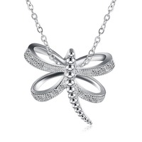 Hot 925 Sterling Silver Jewelry Personalized Dragonfly Pendant Ladies Personality Necklace Picnic With Beautiful Girl