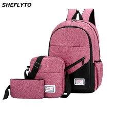 3 sztuk/zestaw kobiety Nylon Laptop szkoła plecaki szkolne torby dla nastolatków dziewczyny College styl preppy podróży plecaki mężczyźni torby na książki