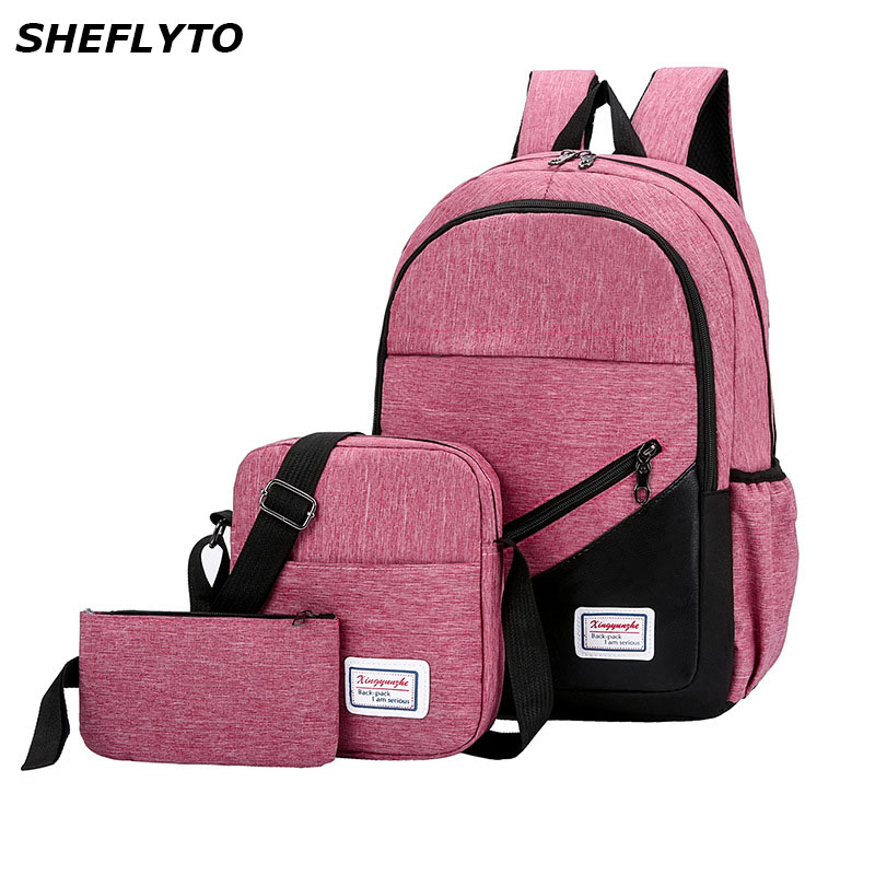 3Pcs/set Women Nylon Laptop School Backpacks School Bags For Teenager Girls College Preppy Style Travel Backpacks Men Book Bags-in Backpacks from Luggage & Bags