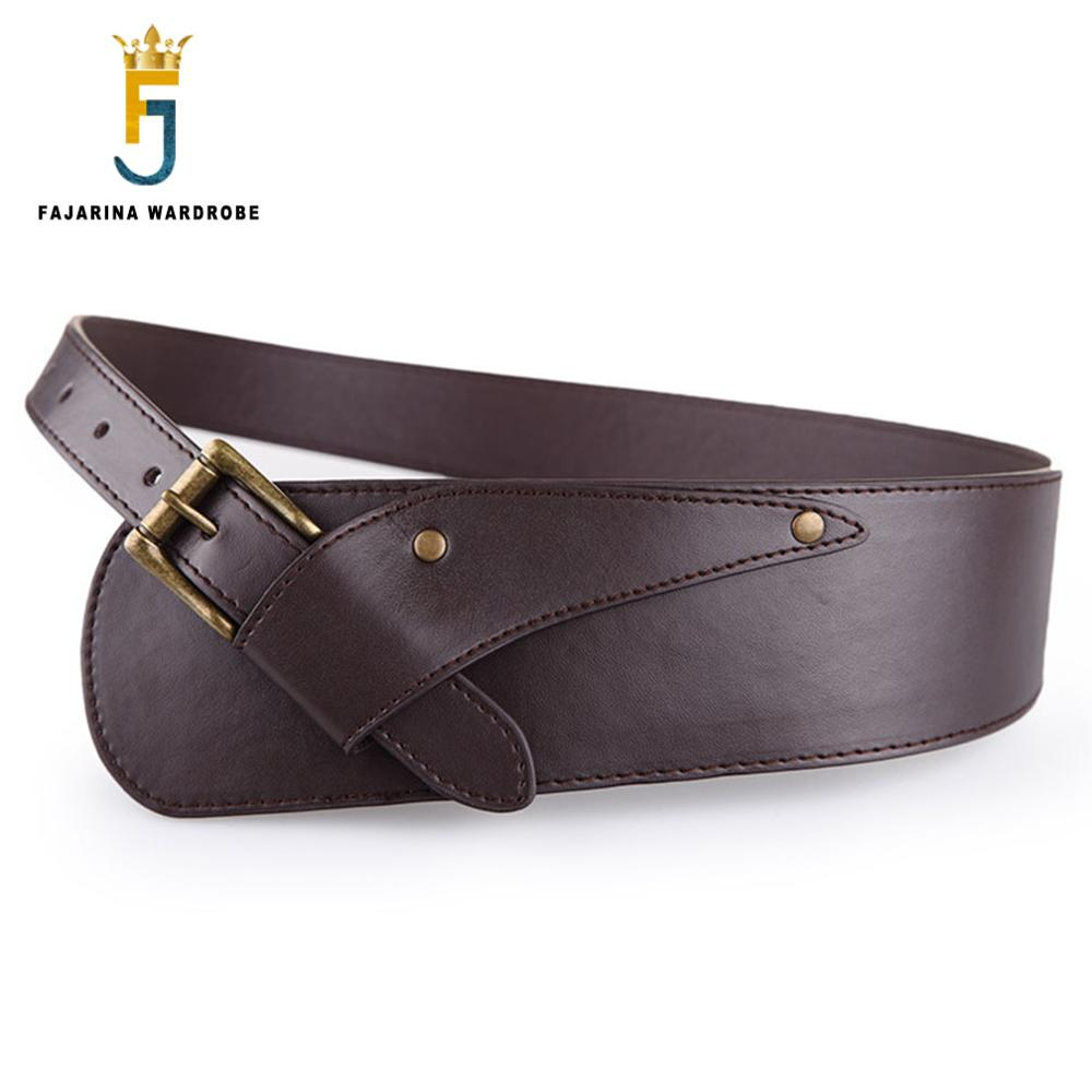 FAJARINA Casual T Show Retro 8cm Wide Ladies Wide Girdle All-match PU Leather Decorative Belts For Women Waistband Belt LDFJ006
