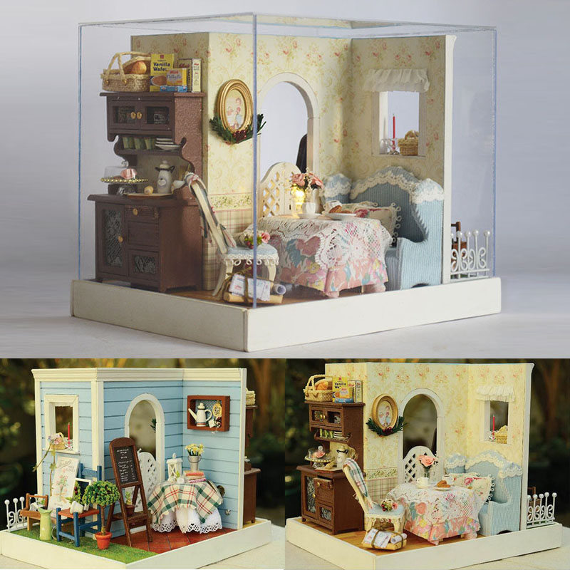 Miniature Sweet Bakery With Garden Craft Model Wood