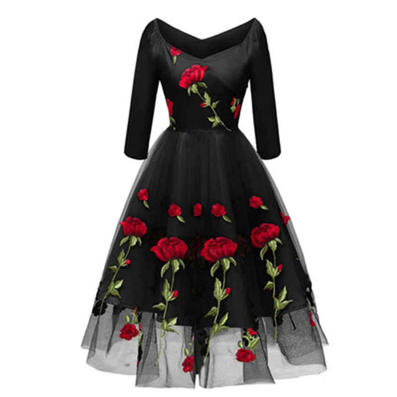 Women Elegant Vintage 3/4 sleeve Rose embroidery Casual Party Evening spring Sexy off shoulder V-Neck Midi Formal winter dress