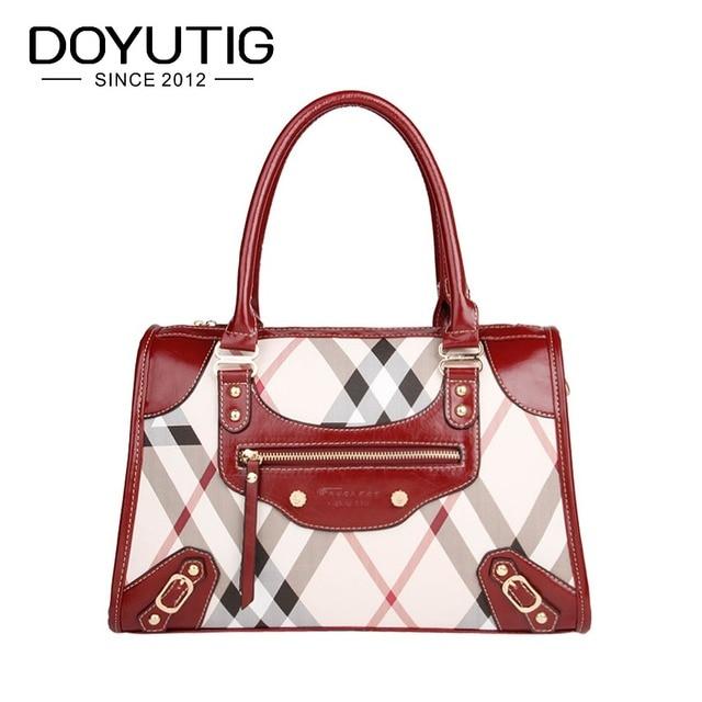 ac629bb29 Nova Moda Listrada Vermelha Mulheres Bolsa Com Couro Macio DO PVC Mulheres  Top-Handle Tote