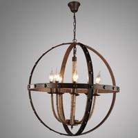 Vintage Metal sphere chandelier hemp rope iron pendant lamp 8 candle light e14 chandelier for restaurant Cafe Bar lighting