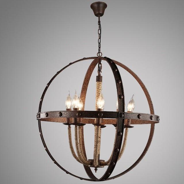 Vintage metal sphere chandelier hemp rope iron pendant lamp 8 candle vintage metal sphere chandelier hemp rope iron pendant lamp 8 candle light e14 chandelier for restaurant aloadofball Choice Image