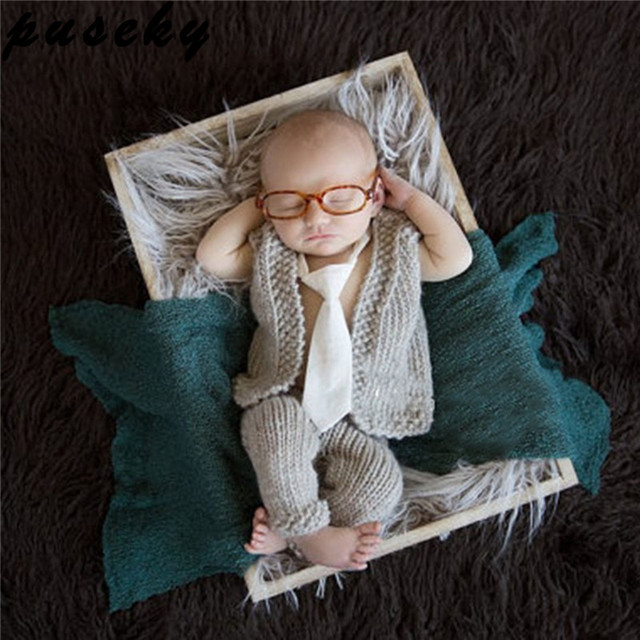 Puseky baby newborn photography props gentleman knitting soft baby glasses vest pant set baby photography accessories