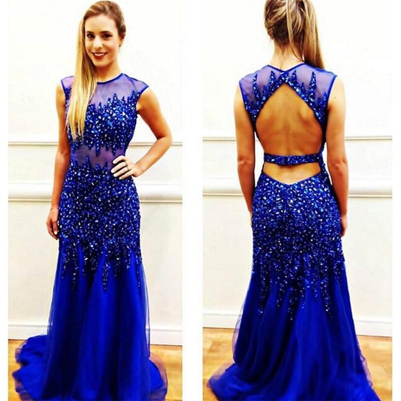 Luxuries 2017 Promotion Mermaid   Prom     Dress   Rhinestone Crystals Backless Royer Blue Tulle vestido de festa   Prom     Dresses