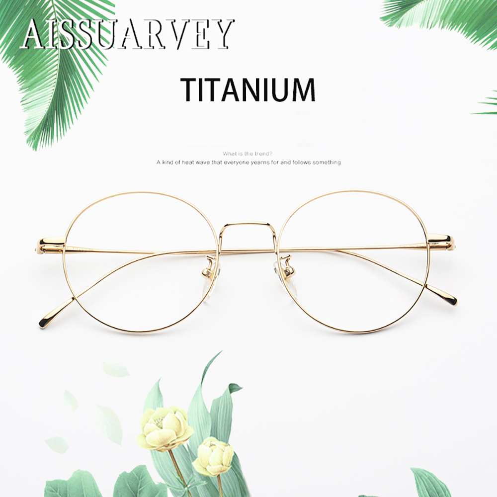Pure Titanium Retro round Vintage Optical Eyeglasses Frames Brand Designer Top Quality Eyewear Women Men Fashion