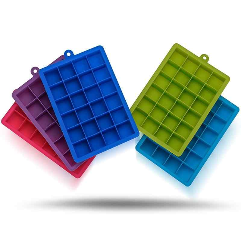 24 Grids Silicone Ice Cube Tray Molds Square Shape Ice Cube Maker Fruit Popsicle Ice Cream Mold for Wine Bar Drinking