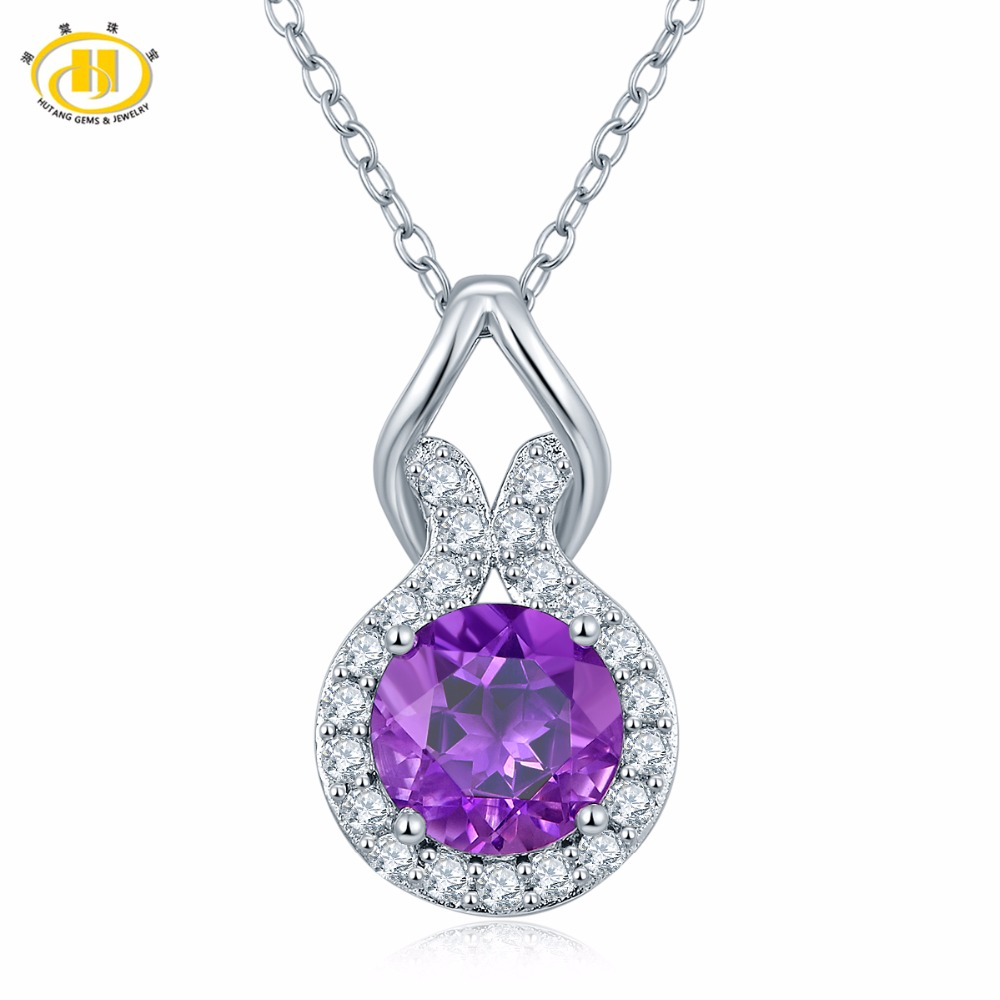 Hutang Natural African Amethyst Infinity Pendant Necklace Solid 925 Sterling Silver Gemstone Fine Jewelry Free Chain For Womne 2 3mm red natural agate necklace multi layers 925 sterling silver with real pearl fine womne jewelry wedding party necklace