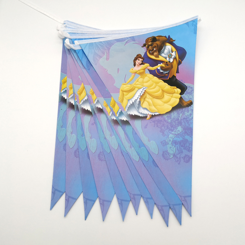 1set/pack Beauty And Beast Theme Baby Shower Party Decorate Paper Flags Kids Girls Favors Pennants Birthday Party Hanging Banner