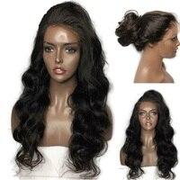180% бесклеевого человеческих волос парики для Для женщин натуральный черный длинное тело волна парики шнурка бразильских Волосы remy предвар