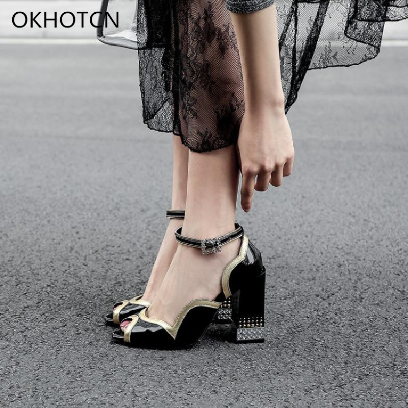 Mixed Color Patent Leather Shiny Upper Women High Heels Sandals Shoes Peep Toe Fretwork Ruffles Ankle Buckle Wedding Shoes Woman