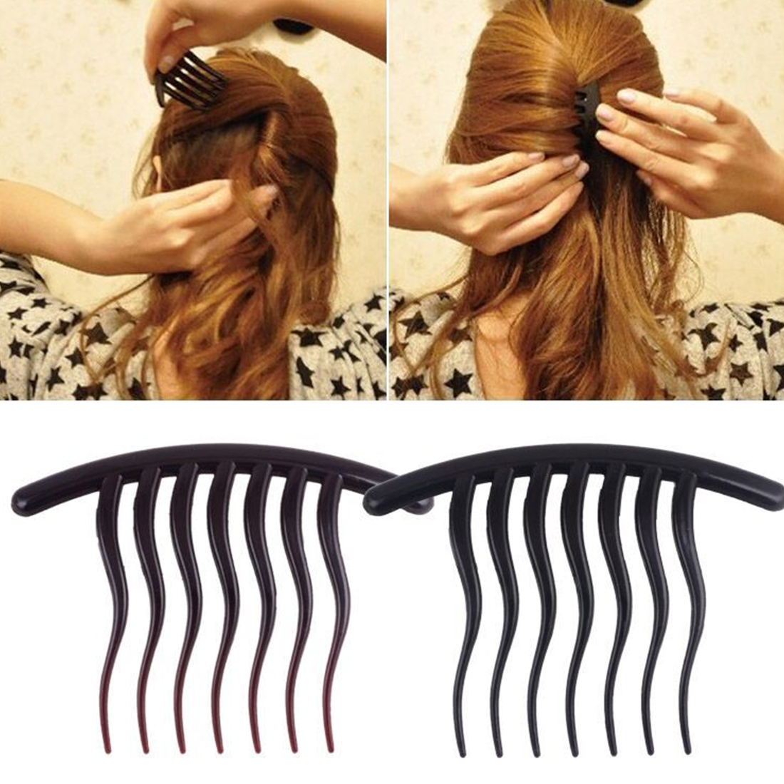 Black Comb Beauty Health Seven-Tooth Resin Coil Hair Comb Clips Hair Accessories Hairdressing Styling Tools