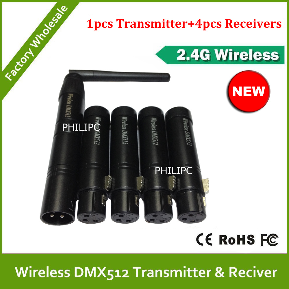 DHL Free Shipping Wireless DMX Transmitter <font><b>Signal</b></font> Receiver For 2.4G Wireless DMX512 Controller <font><b>LED</b></font> Par Light Moving Head Light