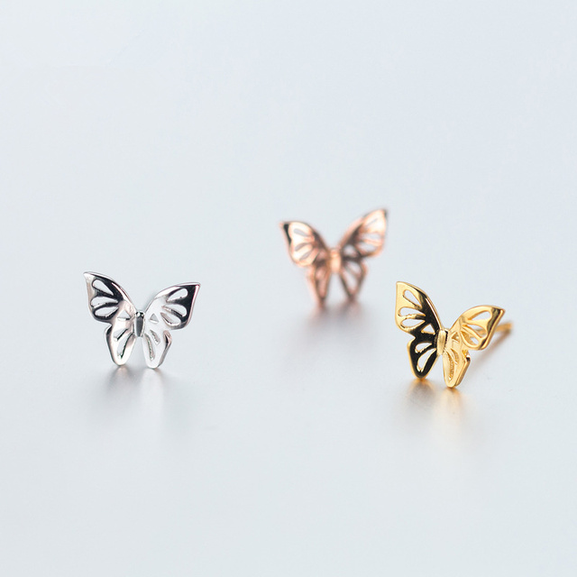 a713388fd 925 Silver Butterfly Ear Studs Female Cute Style Fashion Fresh Hollow Rose Gold  Butterfly Earrings Jewelry