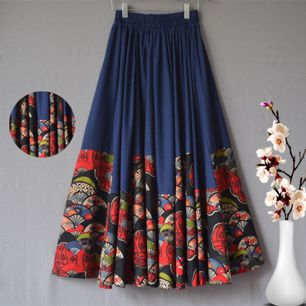 Cotton linen skirts casual elastic waist loose spring autumn national trend new arrival plus size ankle-length skirts mgq0601