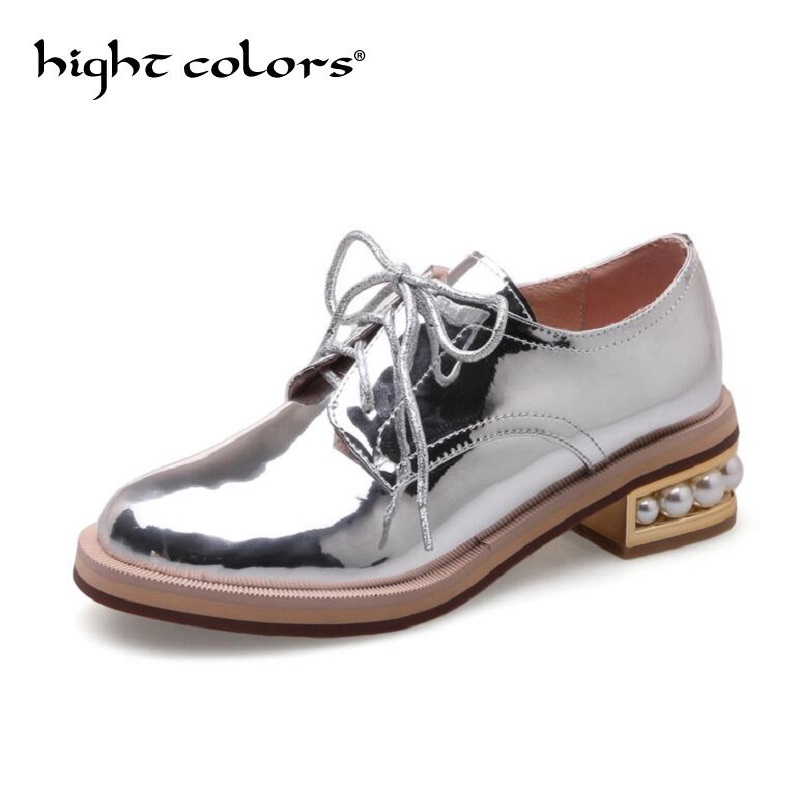 Pigskin Genuine Leather Women Shoes Brogues Lace up Low Heels Round Toe Patent Leather Black Sliver Oxfords Women Casual Shoes xiuningyan soft leather women shoes brogues lace up flat pointed toe patent leather white oxfords women casual shoes for women