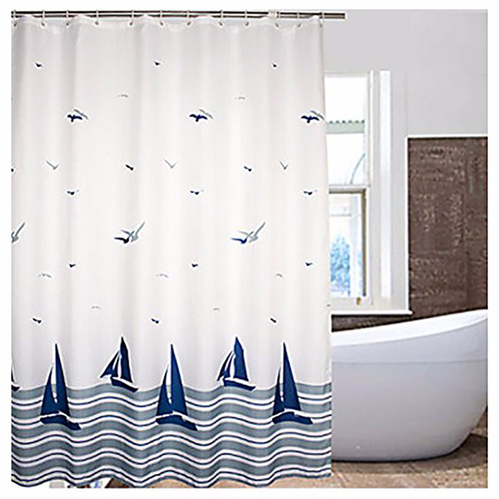 Waterproof bathroom curtains - Europe Style Shower Curtain Sailing Bathroom Curtains Waterproof 180 180cm Polyester Washable Bathing Blinds With