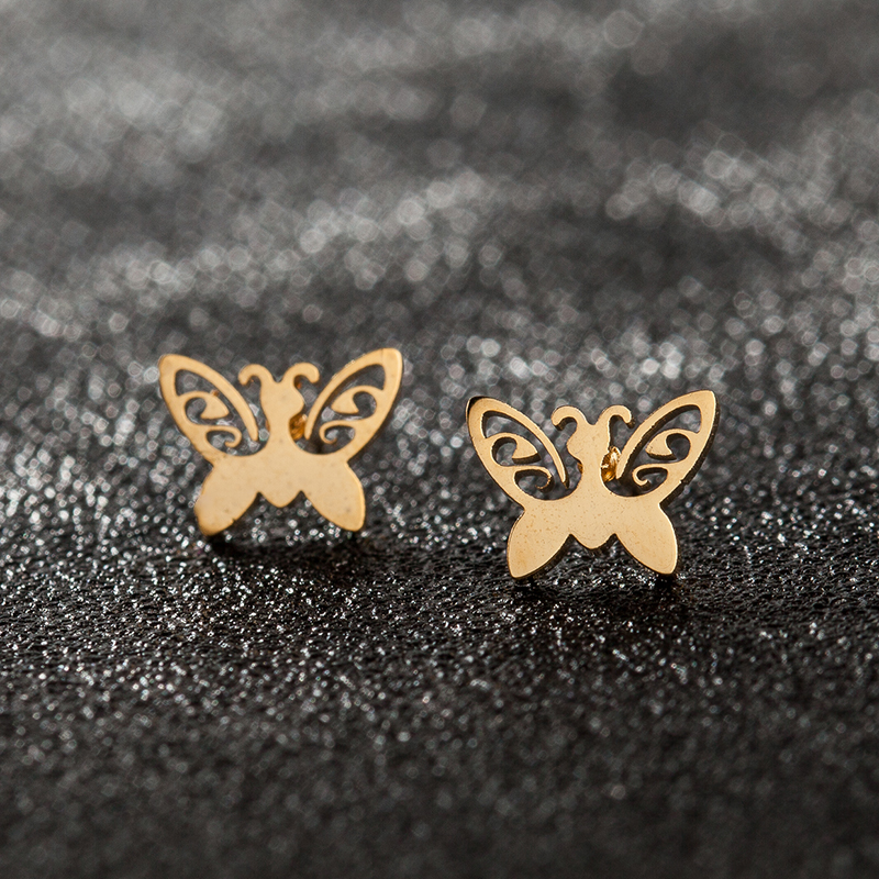 Detail Feedback Questions about Never Fade Stainless Steel Stud Earring for  Women Small Hollow Butterfly Gold Color Lover s Engagement Jewelry on ... 39a9b2d67296