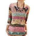 Moda de verano 2017 de La Vendimia de Tres Cuartos de La Gasa Blusas Mujeres Casual Patrón Diferente Camisas Túnica Jumper Tops Blusas Mujer