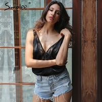 Simplee Sexy Lace Adjustable Strap Bodysuit Women Satin Mesh Backless Lingerie Bodysuit 2017 Summer Party Playsuit