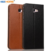 Case For Samsung Galaxy J5 Prime KEZiHOME Genuine Leather Flip Stand Leather Cover For Samsung On5