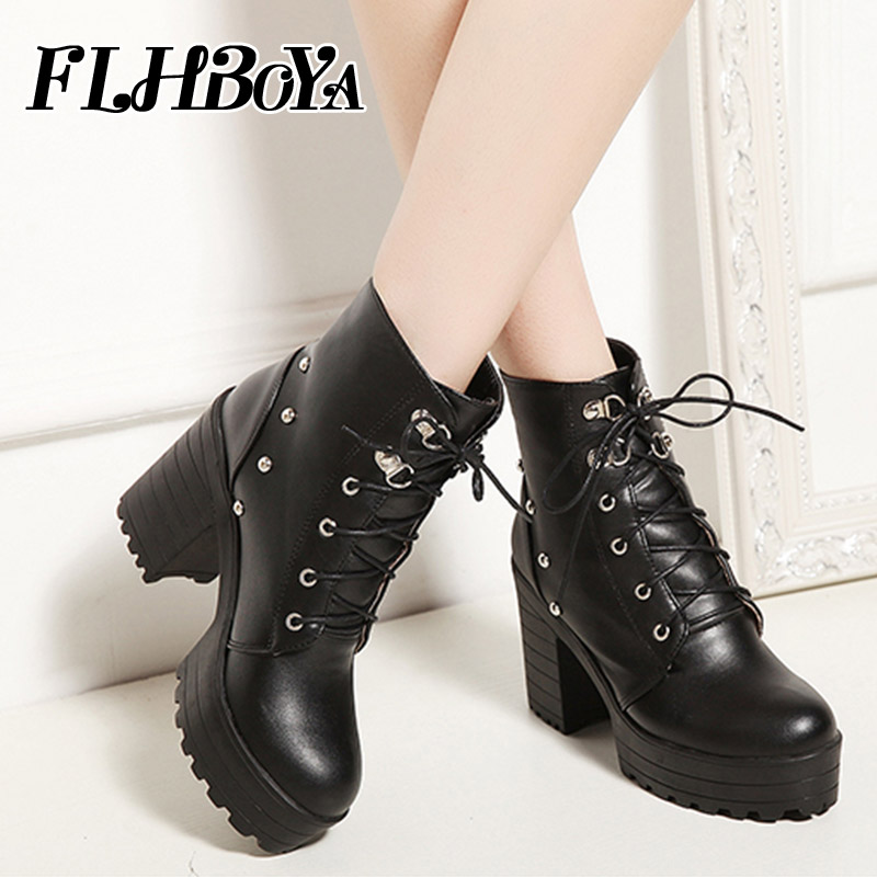 FLHBOYA New fashion lace up ankle boots leather For Women winter high Square heels white black rivet ladies boots Platform shoes цена 2017