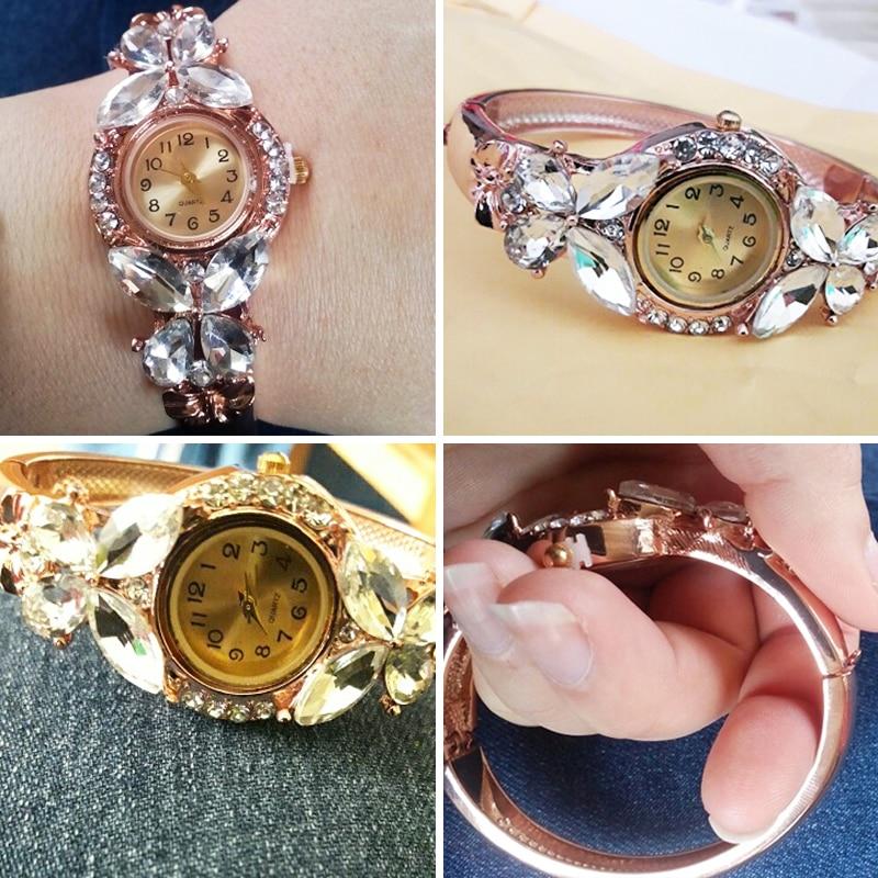 JUNYU mode guld klockor armband klocka kvinnor fjäril gemstone - Damklockor - Foto 5