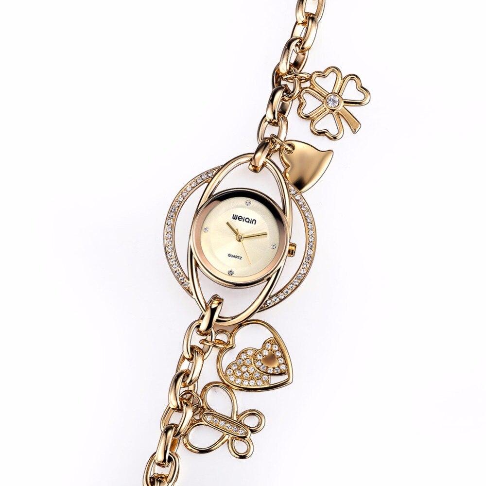 € 27.11 |Weiqin pétales chanceux Bracelet montres femmes or cristal strass mode montre mesdames Casual Relogio Feminino orologio donna dans Bracelets
