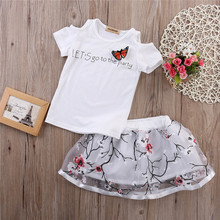 Toddler Girls Top & Floral Skirt 2 Piece Set