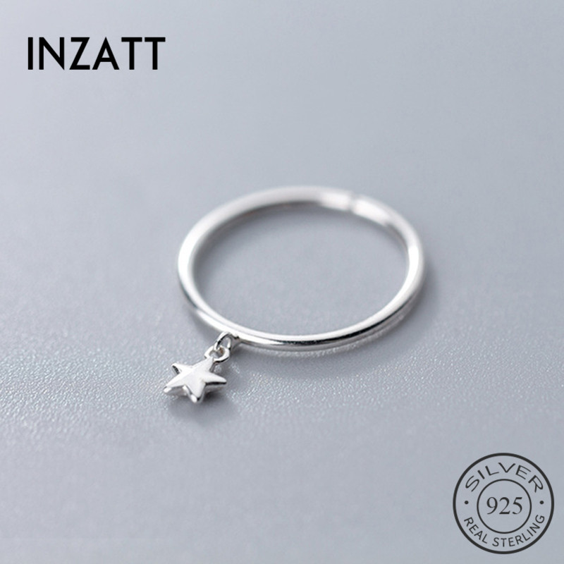 INZATT Genuine 925 Sterling Silver Minimalist Geometric Pendant Star Round Opening Ring For Women Cute Party Fine Jewelry Gift