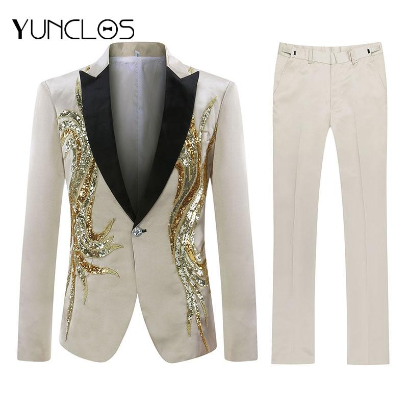 YUNCLOS Men Sequin Suit Party Dress 2 Pieces Shawl Collar Slim Fit Suit Luxury Diamond Wedding Party Men Suits