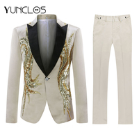 YUNCLOS Men Sequin Suit Party Dress 2 Pieces Shawl Collar Slim Fit Suit Luxury Diamond Wedding Party Men Suits
