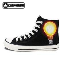 Пользовательские ручной росписью обувь Converse матч электрическая лампочка человека великие изобретения Высокий Верх черный холст кроссовки подарки Для мужчин Для женщин