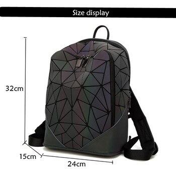 MAGICYZ Women Backpack Luminous Geometric Plaid Men Backpacks For Teenage Girls Bagpack Bag Holographic Backpack School  Mochila 5