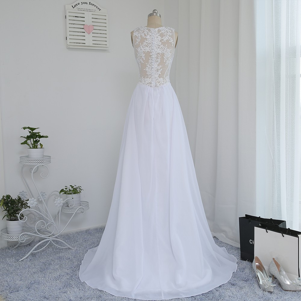 A-line Deep V-neck Appliques Lace Vintage Beach Wedding Dress