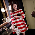2016 Spring And Autumn Cotton Cute Red Stripe Boat Neck Three Quarter Bow Loose Dress Pregnant Women Dresses Freeshipping