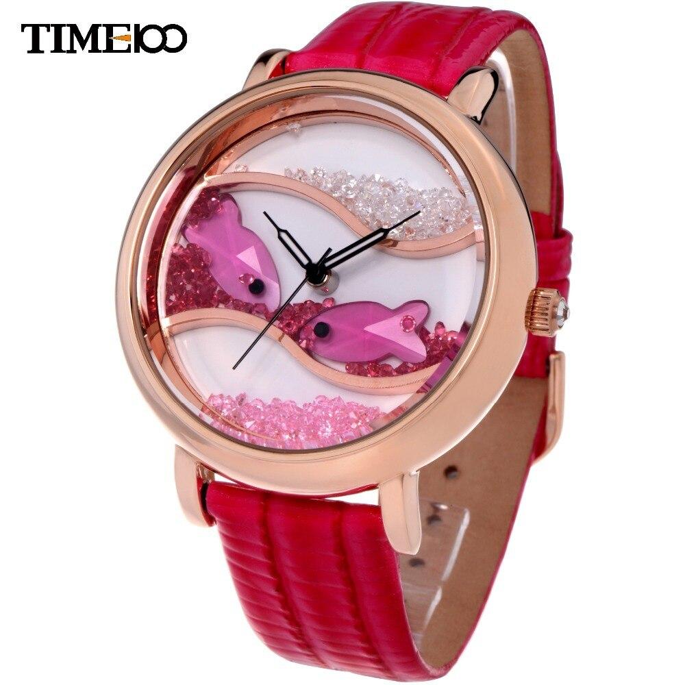 Time100 Ladies Big Caso Fluindo Peixe de Cristal Mostrador Analógico  Pulseira De Couro Vermelho Vestido Relojes Relógio de Pulso de Quartzo  Relógios Para As ... 0bff2157f6