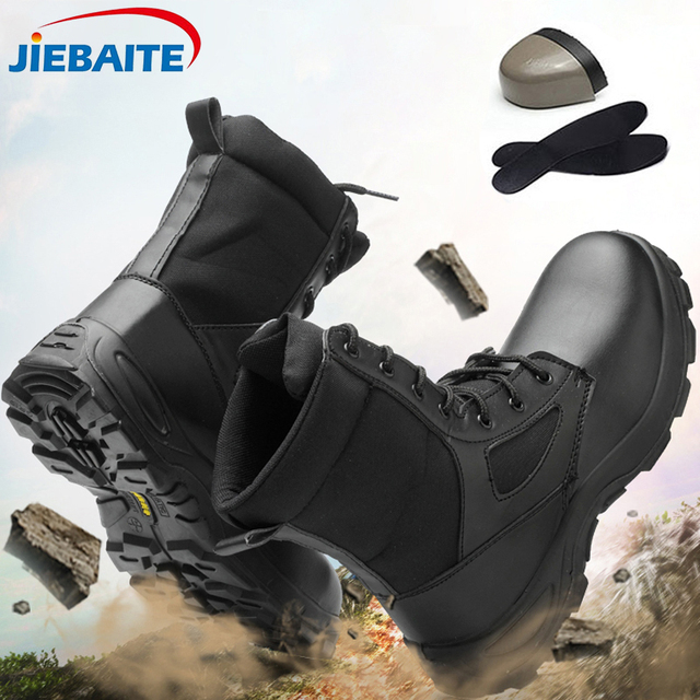 Мужская защитная обувь ботинки со стальным носком, противоскользящие, не проколы, обувь для работы ботинки противоскользящие дышащие защит...