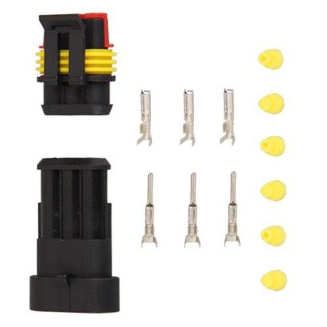 Dewtreetali 5 Kits Flame retardancy 3P waterproof automotive Wire Connector Plug Car Motorcycle HID auto connector 3 Pin Way