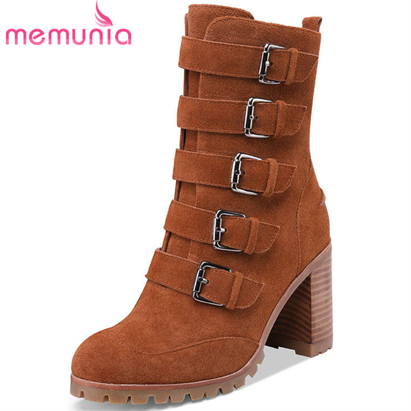 MEMUNIA 2020 new arrival ankle boots for women suede leather booties zip buckle punk high heels boots autumn winter shoes woman