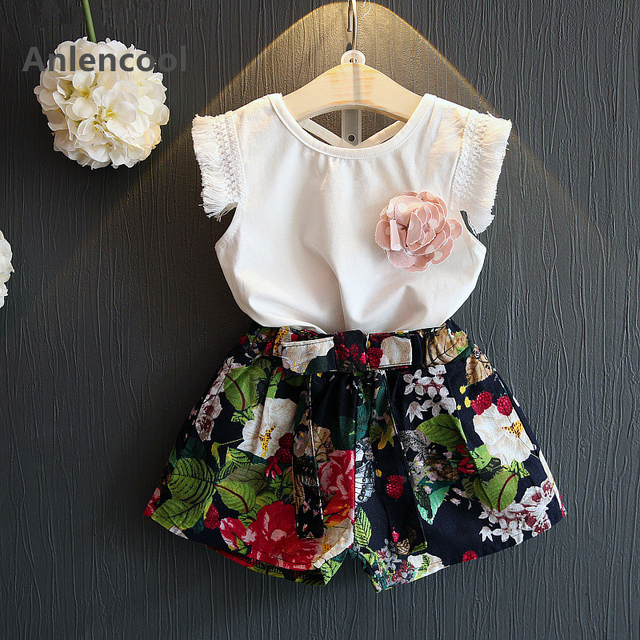 Anlencool Girls Clothes  Summer Style Girl Clothing Sets Sleeveless Tassel White T-shirt+Floral Print Shorts 2Pcs Suits