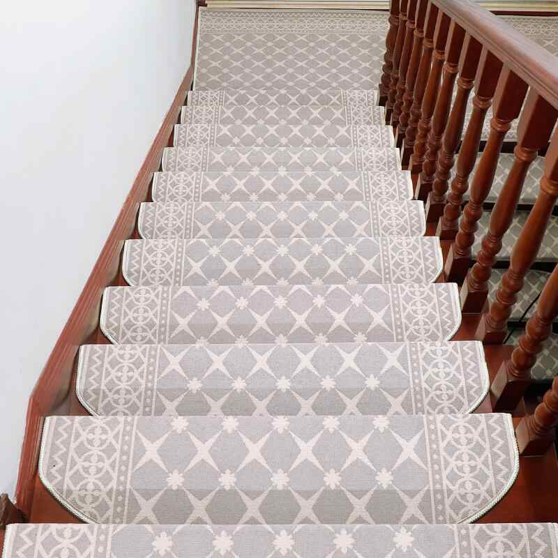 13 Pieces Carpet Stair Treads Anti Slip Stair Carpet Step Floor | Grey Patterned Carpet Stairs | Unusual | Living Room | Grey Mottled | Carpet Wrapped | Geometric