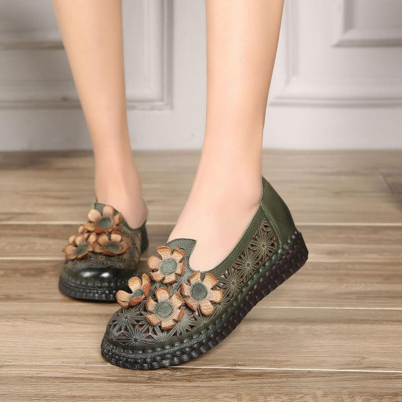 Women Leather Flats Hollow Out Flower Summer Shoes Women 2019 Green Loafers Wome Genuine Leather Handmade Lazy Shoes Soft FlatsWomen Leather Flats Hollow Out Flower Summer Shoes Women 2019 Green Loafers Wome Genuine Leather Handmade Lazy Shoes Soft Flats