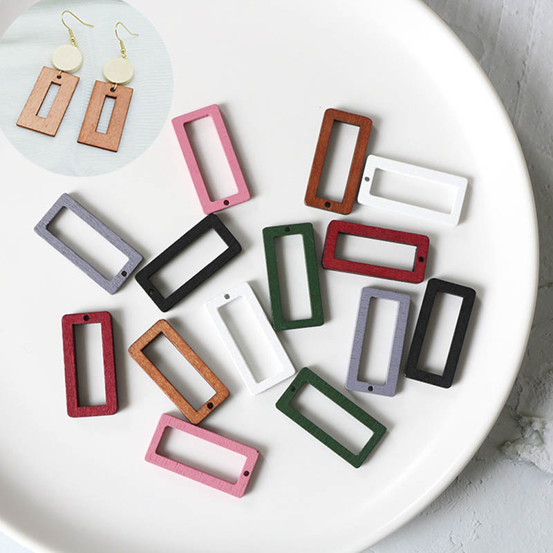 10Pcs Wooden Dangle Earrings Findings Pendants for DIY Jewelry Making Charms