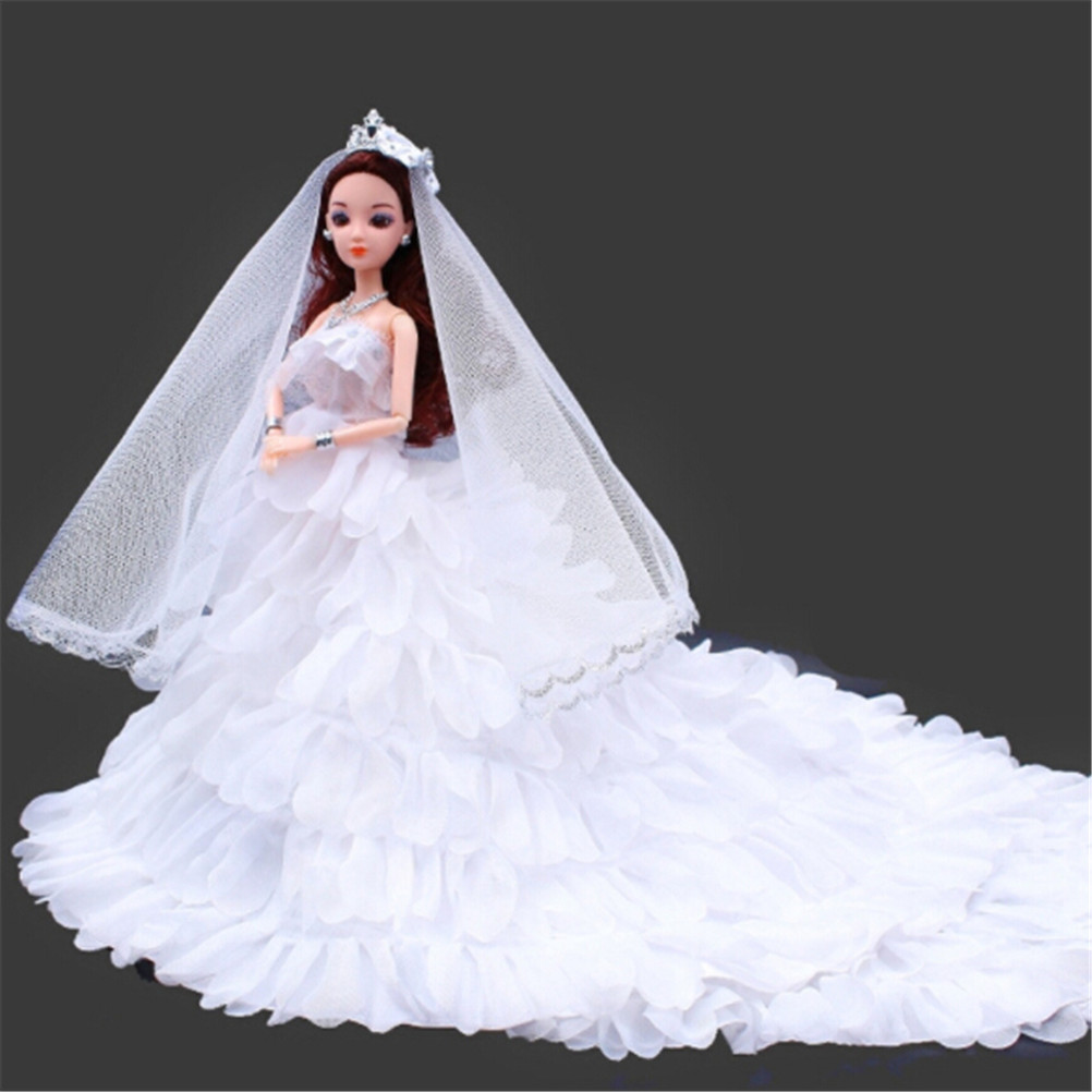 NEW Doll Dress Handmade Long Tail Evening Gown Clothes High quality Wedding Dress +Veil For Barbie 1:6 Doll high quality 1x wedding party dress lace gown evening party princess skirt 1x veil clothes for barbie doll accessories kid toy