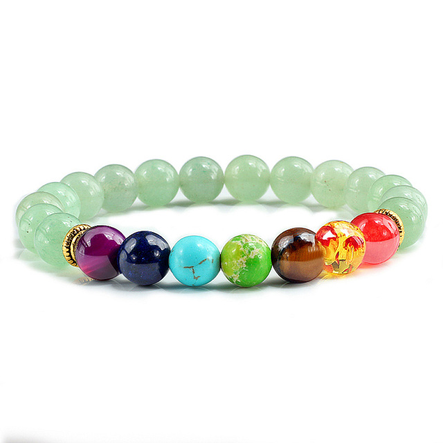 Charm 7 Chakra Natural Stone Black Lava Beads Bracelet